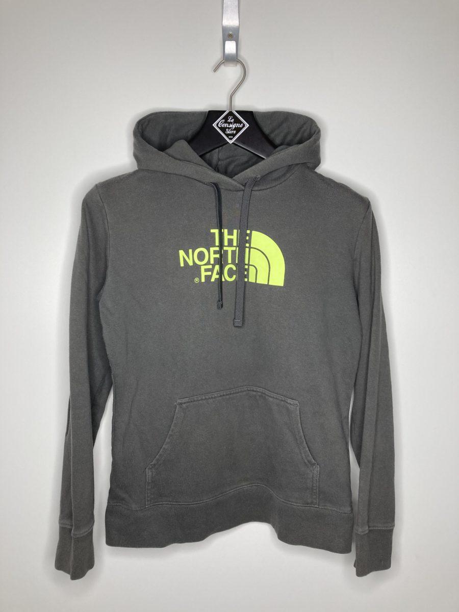 sweat a capuche gris avec imprimé logo jaune the north face